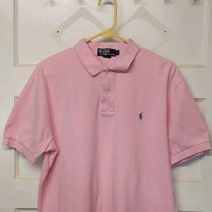 Mens L pink ralph lauren polo shirt